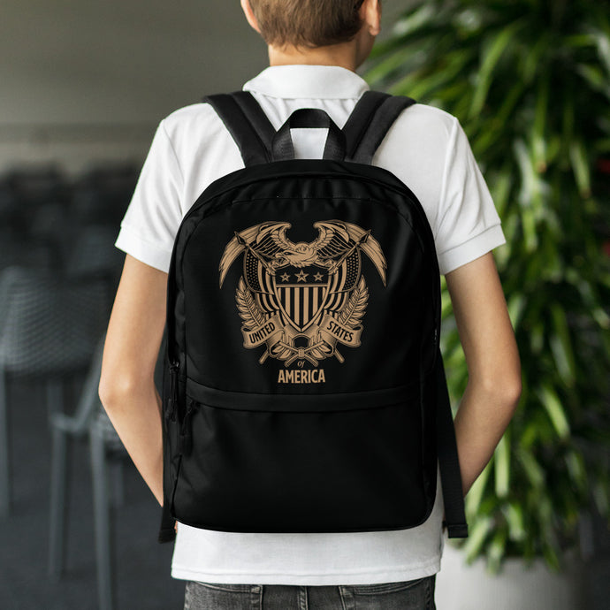 United States Of America Eagle Illustration Reverse Gold Backpack