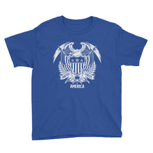 Royal Blue / XS United States Of America Eagle Illustration Reverse Youth Short Sleeve T-Shirt by Design Express