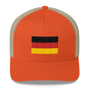 Rustic Orange/ Khaki Germany Flag Embroidered Trucker Cap by Design Express