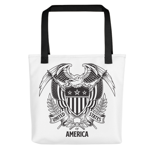 Black United States Of America Eagle Illustration Tote bag Totes by Design Express