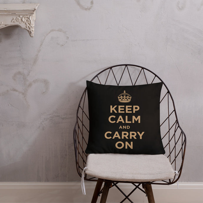 Keep Calm And Carry On (Black Gold) Premium Pillow