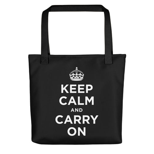 Black Keep Calm and Carry On (Black White) Tote bag Totes by Design Express