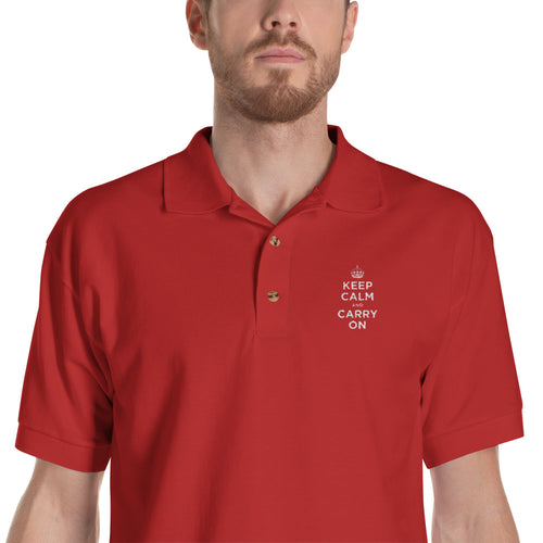 Red / S Keep Calm and Carry On (White Embroidered) Polo Shirt by Design Express
