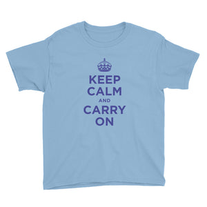 Light Blue / XS Keep Calm and Carry On (Navy Blue) Youth Short Sleeve T-Shirt by Design Express