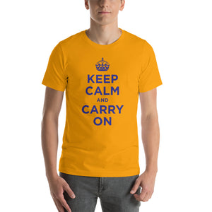 Gold / S Keep Calm and Carry On (Navy Blue) Short-Sleeve Unisex T-Shirt by Design Express