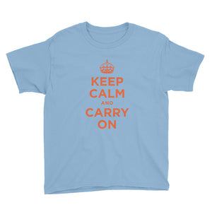 Light Blue / XS Keep Calm and Carry On (Orange) Youth Short Sleeve T-Shirt by Design Express