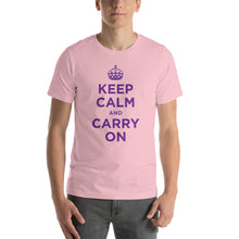 Pink / S Keep Calm and Carry On (Purple) Short-Sleeve Unisex T-Shirt by Design Express