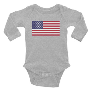 "Heather / 6M United States Flag ""Solo"" Infant Long Sleeve Bodysuit by Design Express"