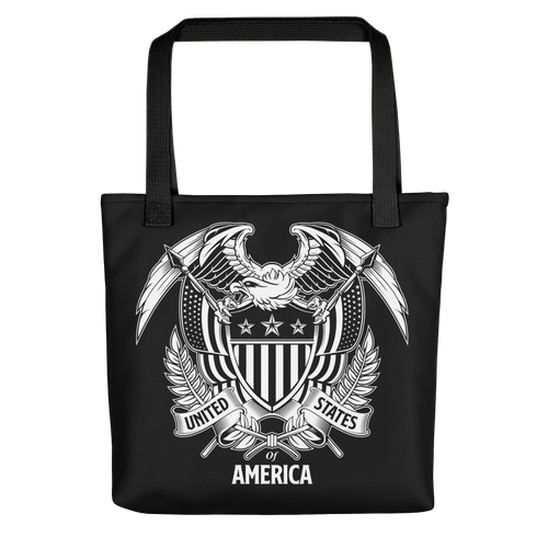 Black United States Of America Eagle Illustration Reverse Tote bag Totes by Design Express