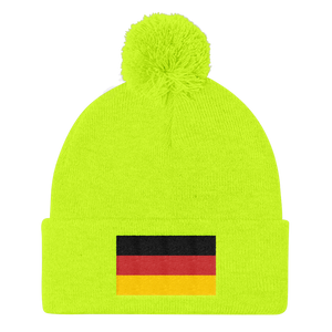 Neon Yellow Germany Flag Pom Pom Knit Cap by Design Express