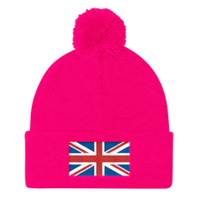 "Neon Pink United Kingdom Flag ""Solo"" Pom Pom Knit Cap by Design Express"