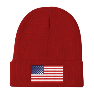 "Red United States Flag ""Solo"" Knit Beanie by Design Express"