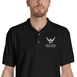 "Black / S United States Space Force ""Reverse"" Embroidered Polo Shirt by Design Express"