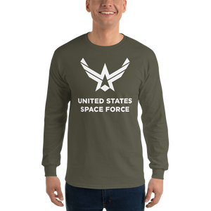 "Military Green / S United States Space Force ""Reverse"" Long Sleeve T-Shirt by Design Express"