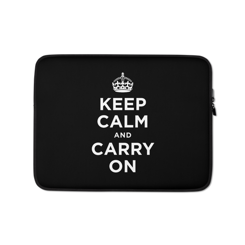 13 in Black Keep Calm and Carry On Laptop Sleeve by Design Express
