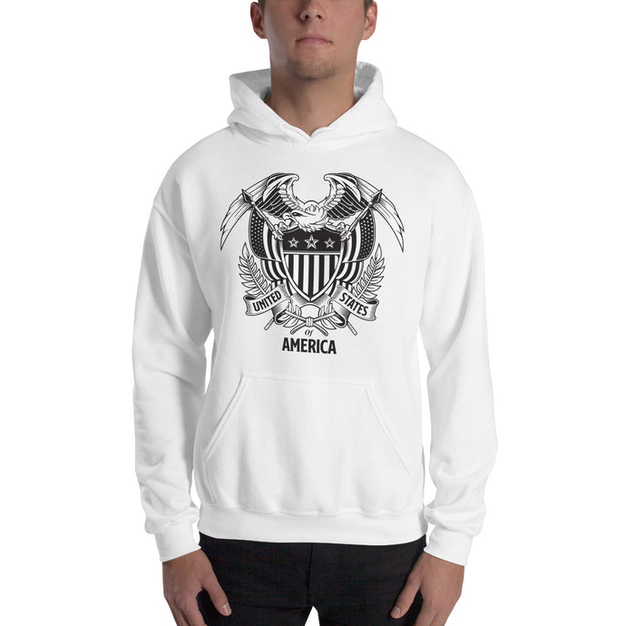 United States Of America Eagle Illustration Hooded Sweatshirt