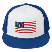 "Royal/ White/ Royal United States Flag ""Solo"" Trucker Cap by Design Express"