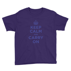 Purple / XS Keep Calm and Carry On (Navy Blue) Youth Short Sleeve T-Shirt by Design Express