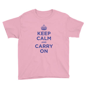 CharityPink / XS Keep Calm and Carry On (Navy Blue) Youth Short Sleeve T-Shirt by Design Express