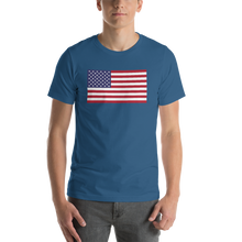 "Steel Blue / S United States Flag ""Solo"" Short-Sleeve Unisex T-Shirt by Design Express"