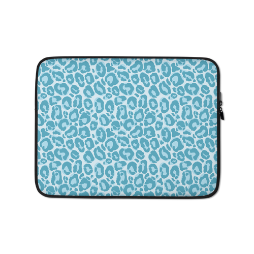 13 in Teal Leopard Print Laptop Sleeve by Design Express