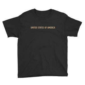 Black / XS United States Of America Eagle Illustration Reverse Gold Backside Youth Short Sleeve T-Shirt by Design Express