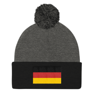 Dark Heather Grey/ Black Germany Flag Pom Pom Knit Cap by Design Express