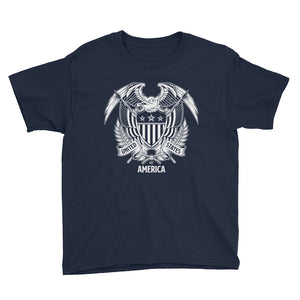 Navy / XS United States Of America Eagle Illustration Reverse Youth Short Sleeve T-Shirt by Design Express