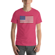 "Heather Raspberry / S United States Flag ""Solo"" Short-Sleeve Unisex T-Shirt by Design Express"