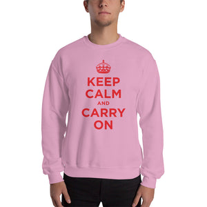 Light Pink / S Keep Calm and Carry On (Red) Unisex Sweatshirt by Design Express