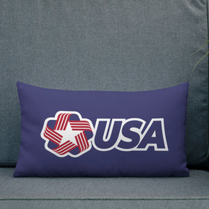 "USA ""Rosette"" Rectangular Navy Premium Pillow by Design Express"