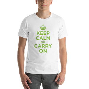 White / XS Keep Calm and Carry On (Green) Short-Sleeve Unisex T-Shirt by Design Express