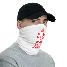 White Red Keep Calm and Wash Your Hands Neck Gaiter Masks by Design Express