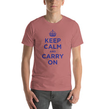 Mauve / S Keep Calm and Carry On (Navy Blue) Short-Sleeve Unisex T-Shirt by Design Express