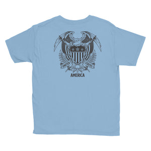 United States Of America Eagle Illustration Backside Youth Short Sleeve T-Shirt