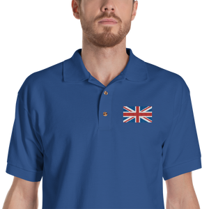 "Royal / S United Kingdom Flag ""Solo"" Embroidered Polo Shirt by Design Express"