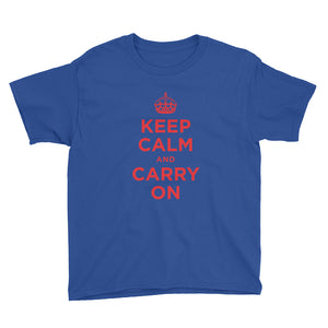 Royal Blue / XS Keep Calm and Carry On (Red) Youth Short Sleeve T-Shirt by Design Express