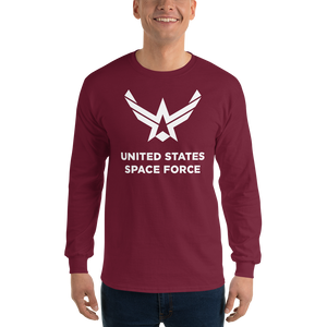 "Maroon / S United States Space Force ""Reverse"" Long Sleeve T-Shirt by Design Express"