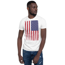 White / S US Flag Distressed Short-Sleeve Unisex T-Shirt by Design Express