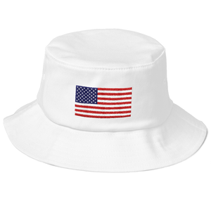 "White United States Flag ""Solo"" Old School Bucket Hat by Design Express"