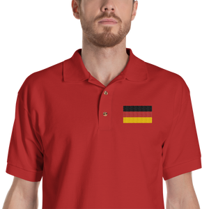 Red / S Germany Flag Embroidered Polo Shirt by Design Express