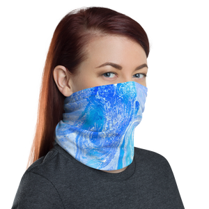 Blue Watercolor Marble Neck Gaiter Masks by Design Express