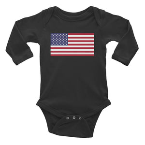 "Black / 6M United States Flag ""Solo"" Infant Long Sleeve Bodysuit by Design Express"