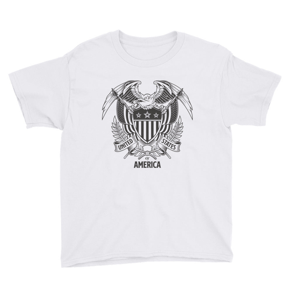White / XS United States Of America Eagle Illustration Youth Short Sleeve T-Shirt by Design Express
