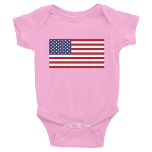 "Pink / 6M United States Flag ""Solo"" Infant Bodysuit by Design Express"