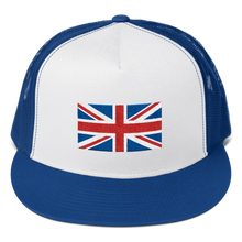 "Royal/ White/ Royal United Kingdom Flag ""Solo"" Trucker Cap by Design Express"