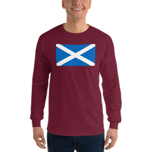 "Maroon / S Scotland Flag ""Solo"" Long Sleeve T-Shirt by Design Express"