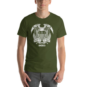Olive / S United States Of America Eagle Illustration Reverse Short-Sleeve Unisex T-Shirt by Design Express