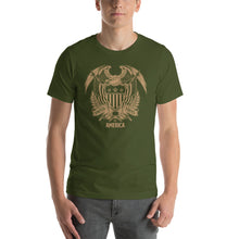 Olive / S United States Of America Eagle Illustration Gold Reverse Short-Sleeve Unisex T-Shirt by Design Express