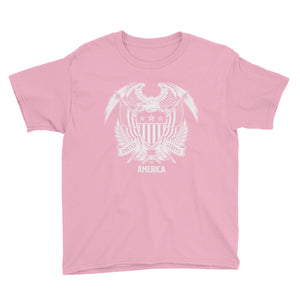 CharityPink / XS United States Of America Eagle Illustration Reverse Youth Short Sleeve T-Shirt by Design Express